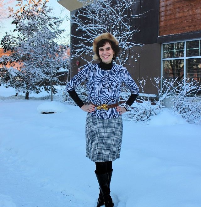 #midlifestyle mature woman in black and white winter outfit