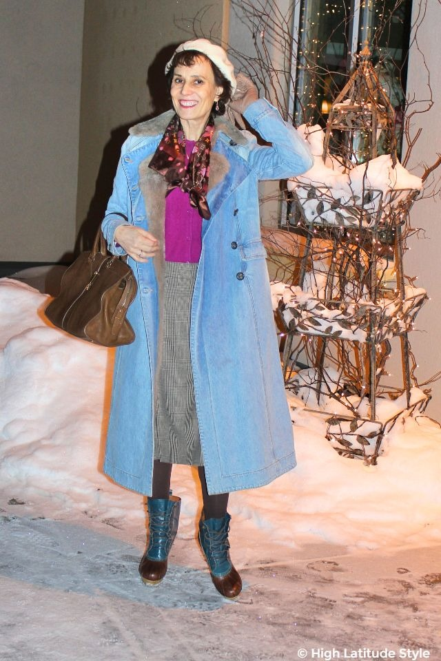 #fashionover50 woman in winter posh outfit with denim coat and glen check skirt