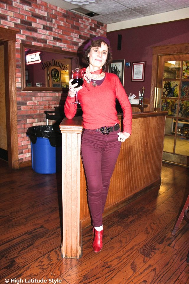 #Fashionover50 woman in Valentine's Day outfit in red and burgundy