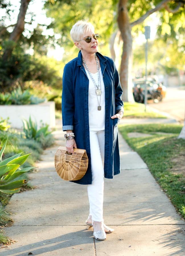 Susan B. at un femme d'un certain age in a denim duster outfit