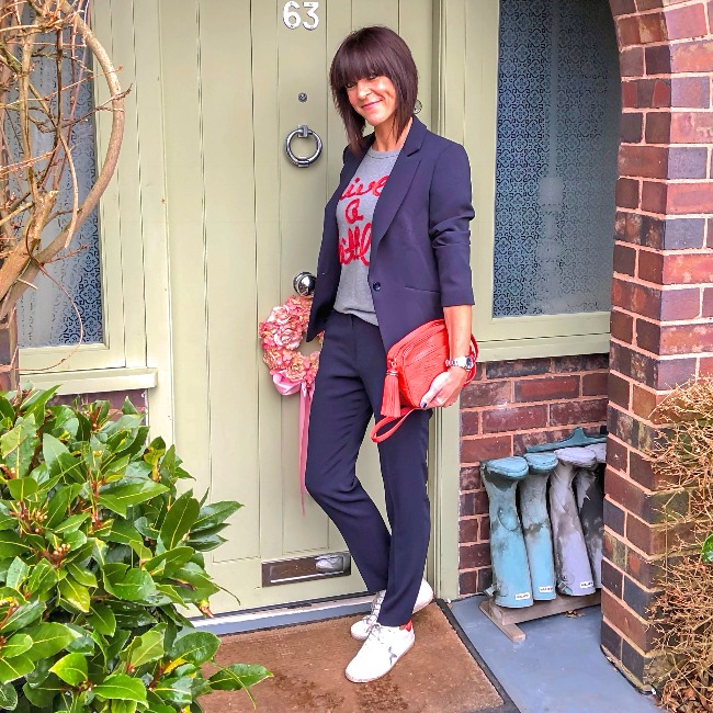 #midlifefashion Jane of My Midlife Fashion in a blue suit with gray shirt