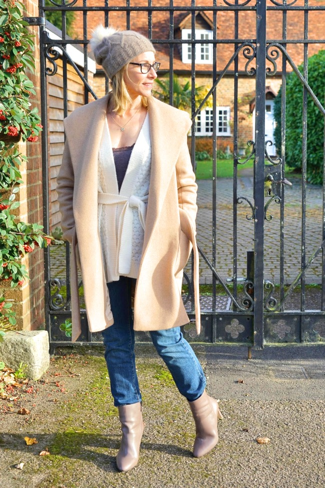 #maturestyle Maria of Passion Fruit Paws and Pegonies in an all neutral winter elegant casual look