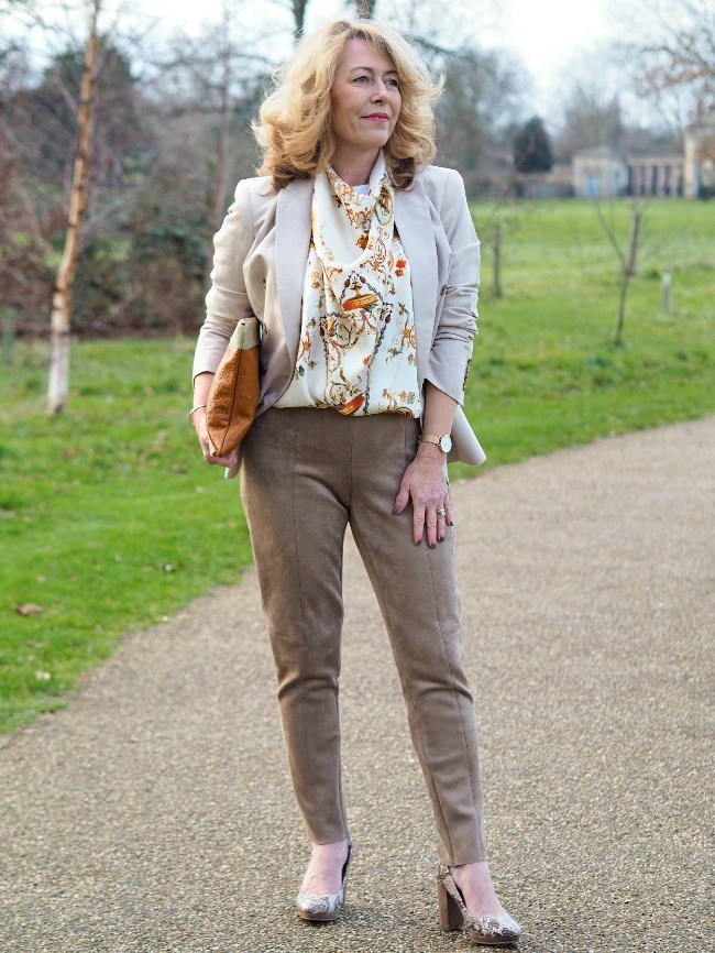 Laurie's outfit with neutral pants, blazer, shoes scarf and bag in different shades