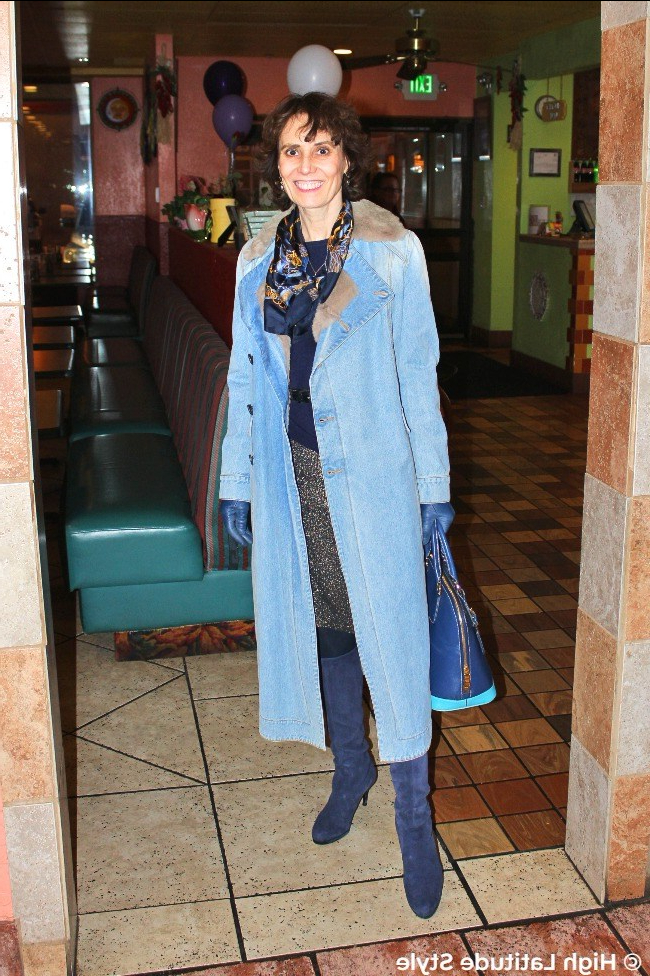 #Advancedfashion woman in monochromatic blue outfit with denim coat and blue gauntlets