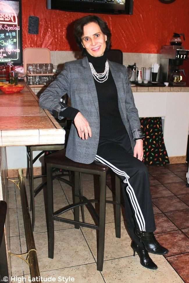 fashion blogger in fake suit with Adidas jogging pants and blazer
