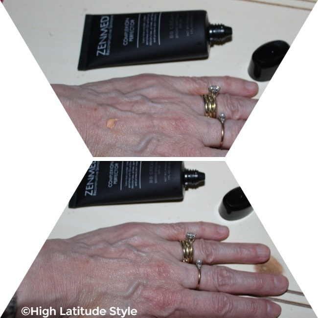 showing the balmy cream-like behavior of Zenmed makeup. Upper part: Small drop; lower part: after its distribution on the hand