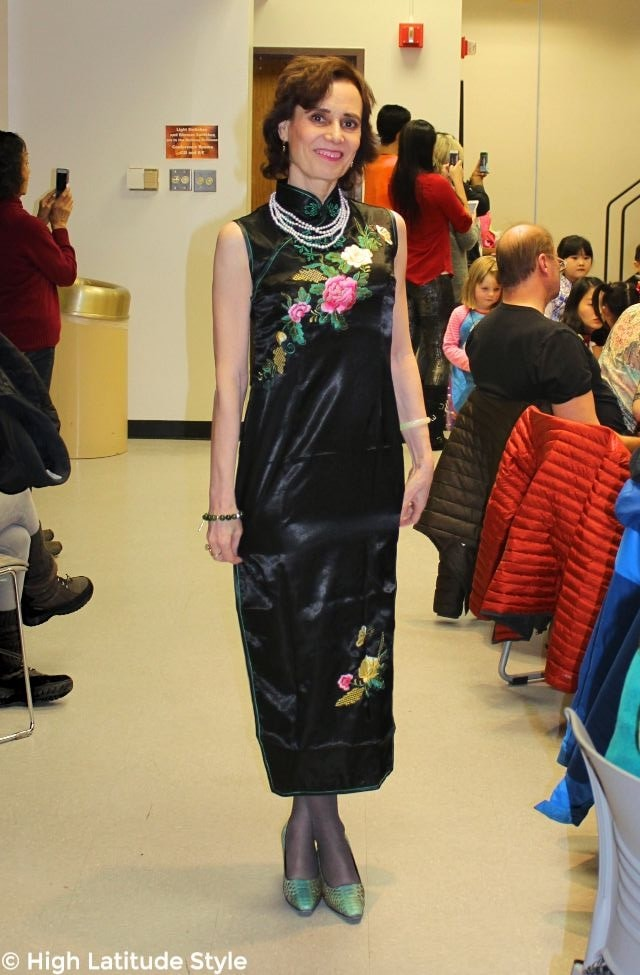 #fashionover50 woman in Chinese dress with floral embroidery