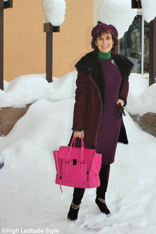 blogger wearing the pinned on accessory look and a shearling coat