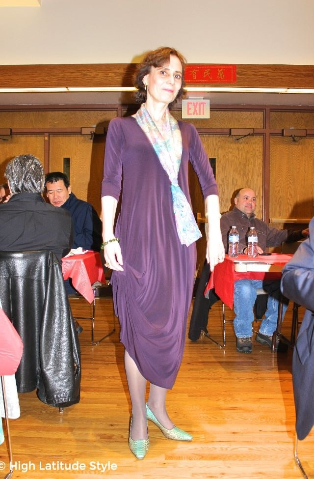 #maturefashion woman in aubergine drama dress with hand painted scarf