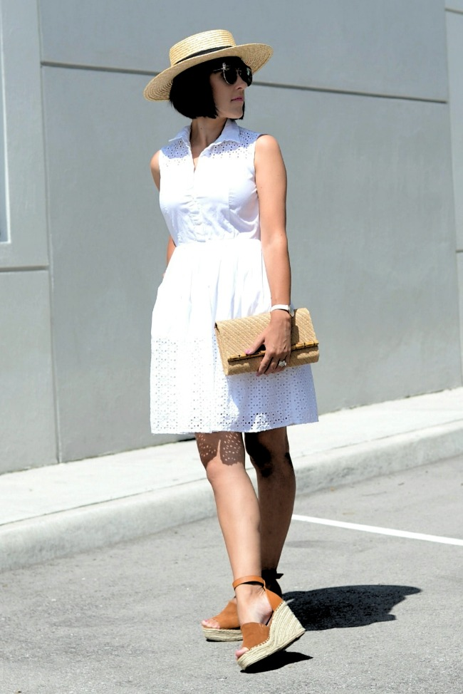 #styleover40 Amber at Canadian Fashionista in a LWD with straw hat