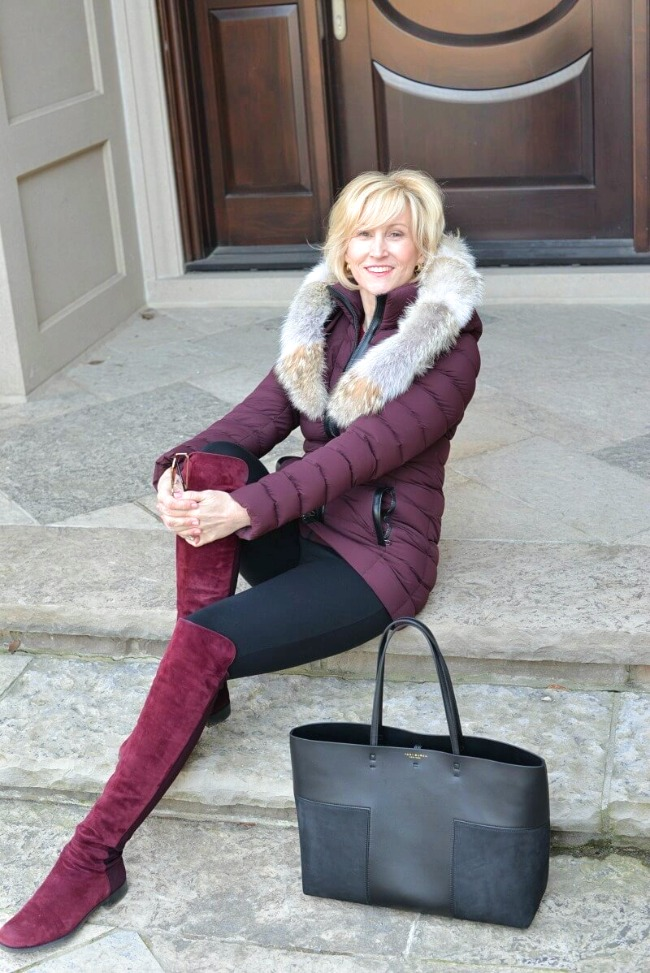 Deboraha Borland in skinnies, OTK boots and parka dress for winter in continental humid climate