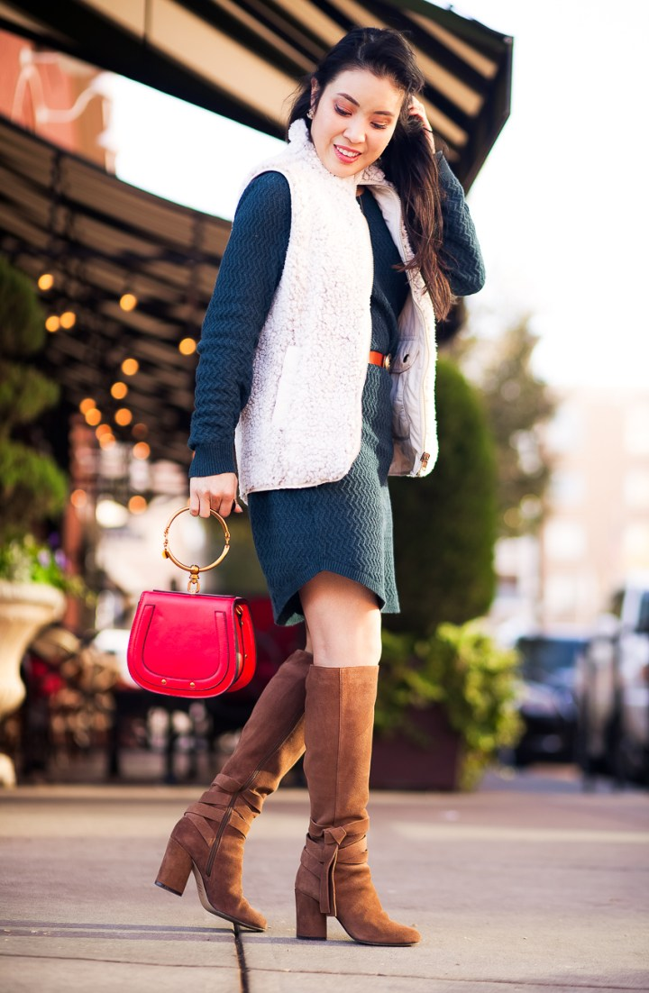 #ToptheWorldStyleMyFav Kileen in a posh neutral outfit with a pop of color