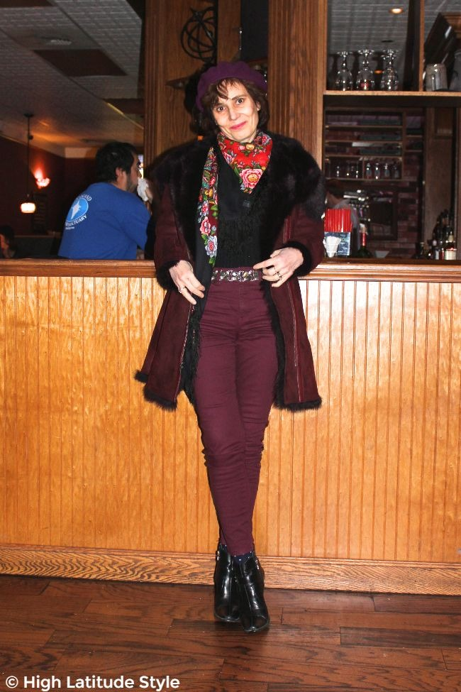 #fashionover50 #agelessstyle mildlife woman looking posh chic with a statement belt, burgundy pants, coat and beret