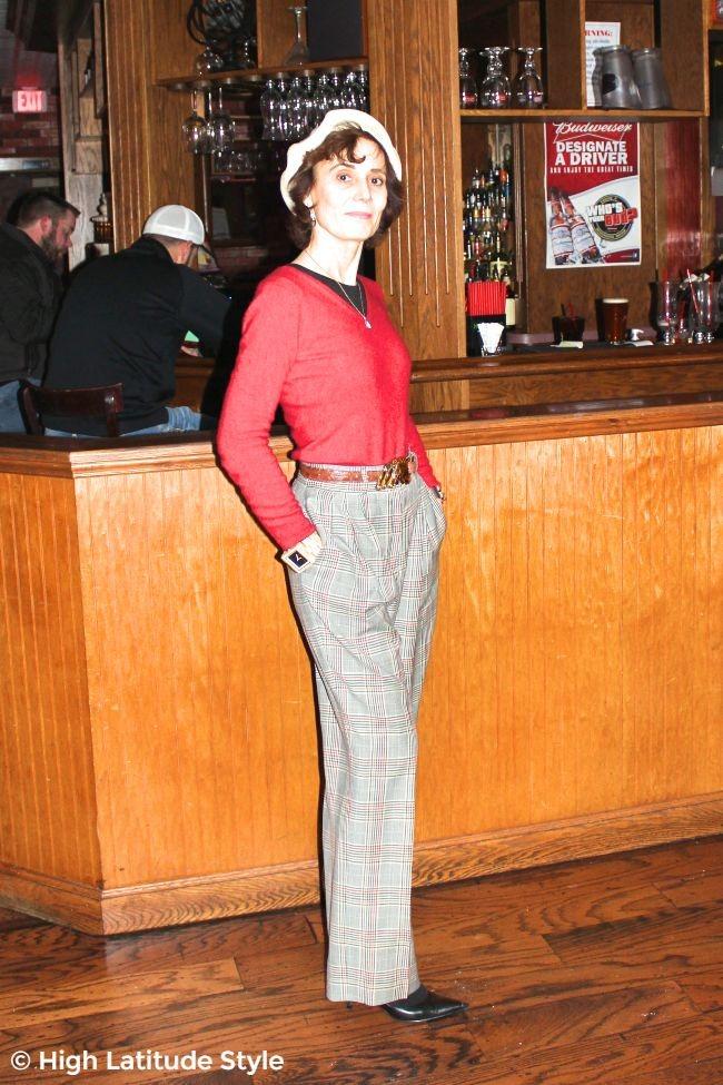 #advancedstyle midlife woman looking posh in men's wear inspired attire