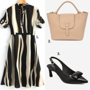 #advancedfashion Zaful summer work outfit created with wavy striped dress, tote and slingbacks