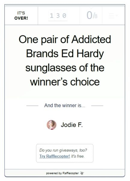Addicted Brands Ed Hardy sunglasses giveaway winner announcement