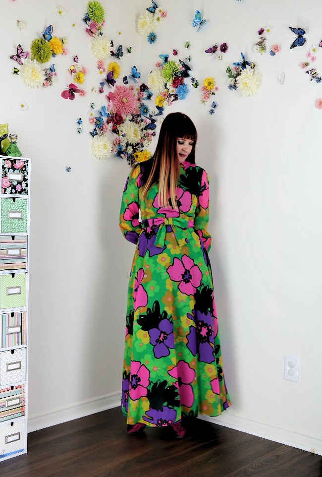 #advancedstyle Suzanne Carillo in pink, purple and green floral print maxi dress