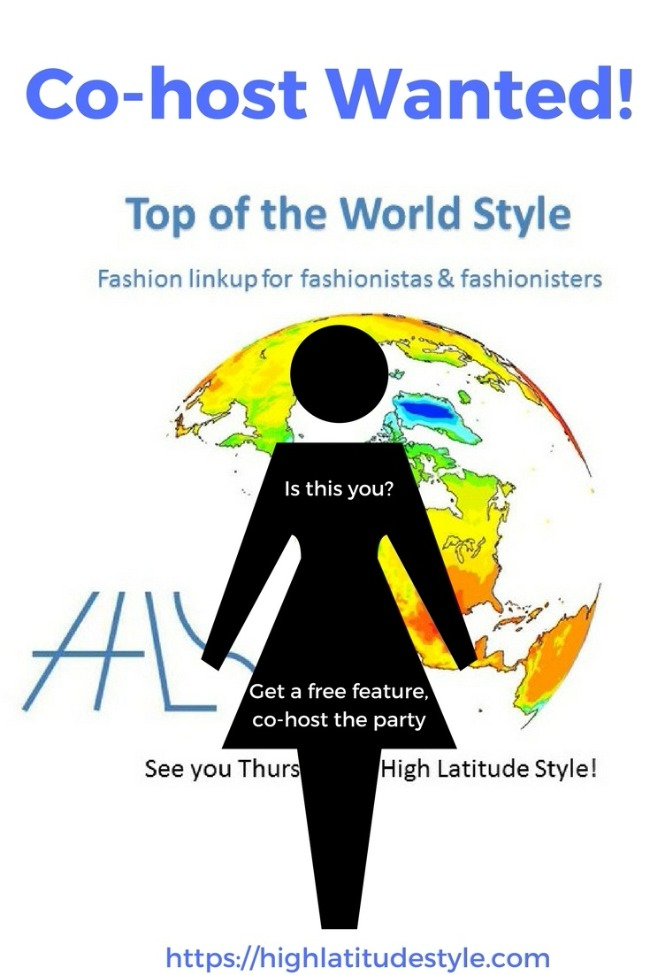 call for co-hosts for Top of the World Style linkup party wanted badge