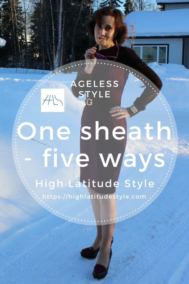 #agelessstyle #fashionover50 banner for post on versatility of sheaths