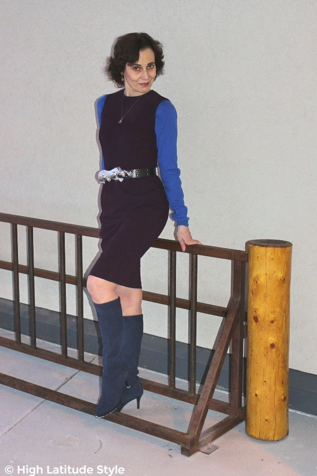 #maturestyle woman in sheath with blue sweater and boots