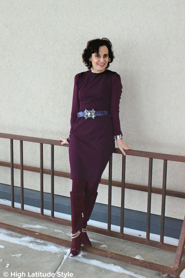 over 50 years old fashion blogger in monochromatic outfit with purple pop of color
