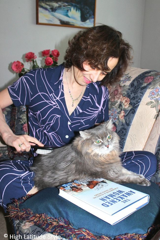 #HomeIsTheKey woman in PJ brushing a cat #somaintimates