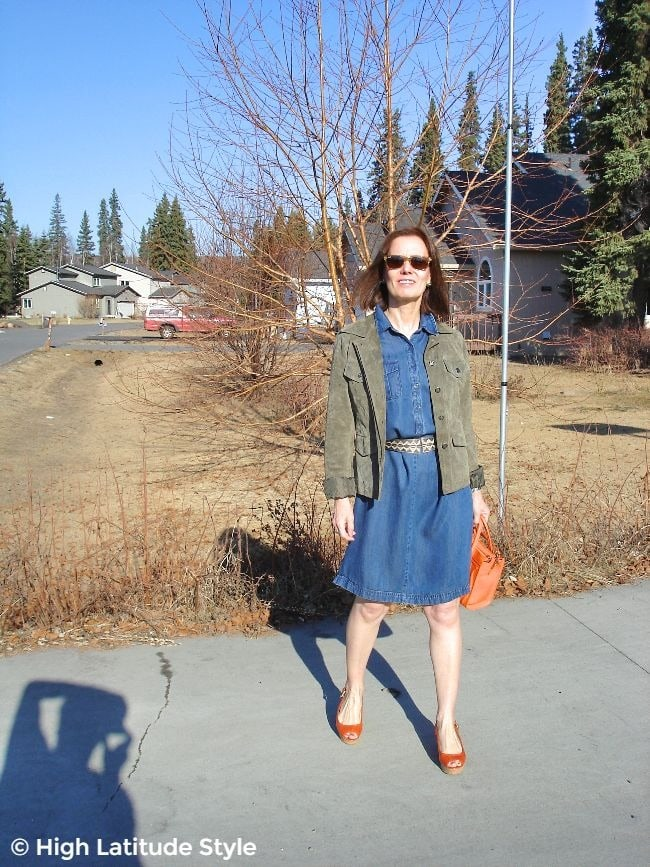 #styleover50 woman in denim dress and utility jacket