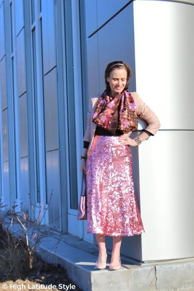 #fashionover50 midlife woman in mix of high and low price items