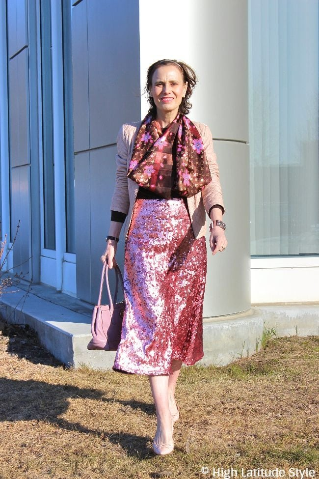 midlife style blogger in posh sequin for day outfit