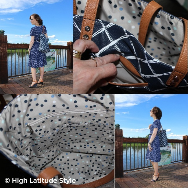 collage showing the interior pockets of the purse