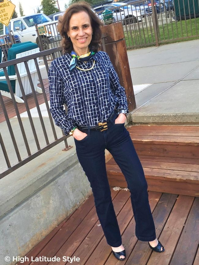 #fashionover50 babyboomer woman in Ethyl jeans with perfect fit