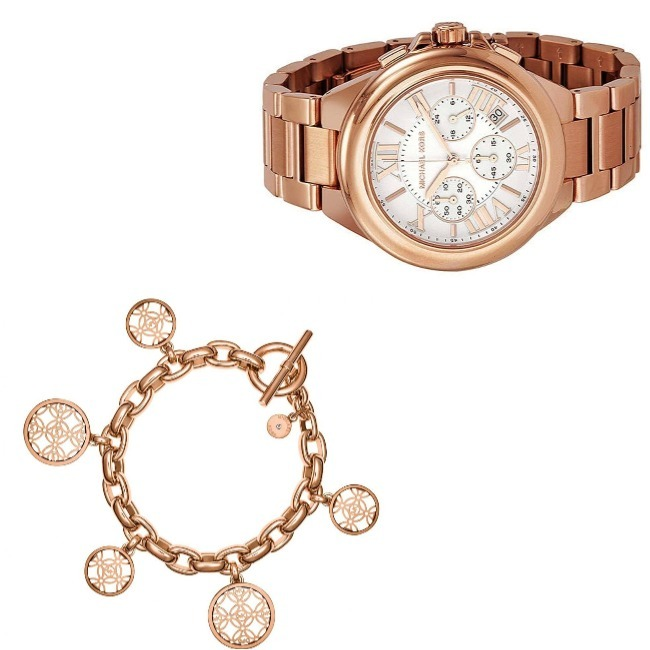 #MichealKorsLove #accessoriesover40 rose gold chronograph and rose color logo charm bracelet