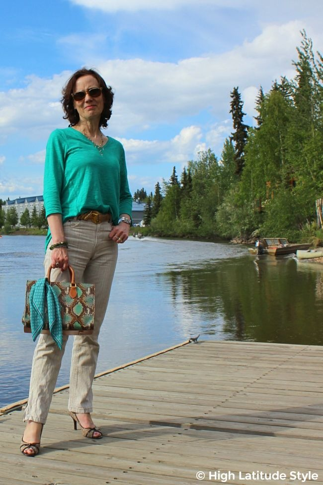 mature fashion blogger in linen pants and top travel outfit