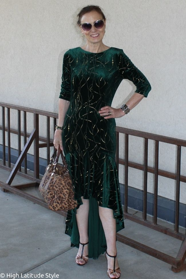 influencer in high-low hem gown as weekend outfit