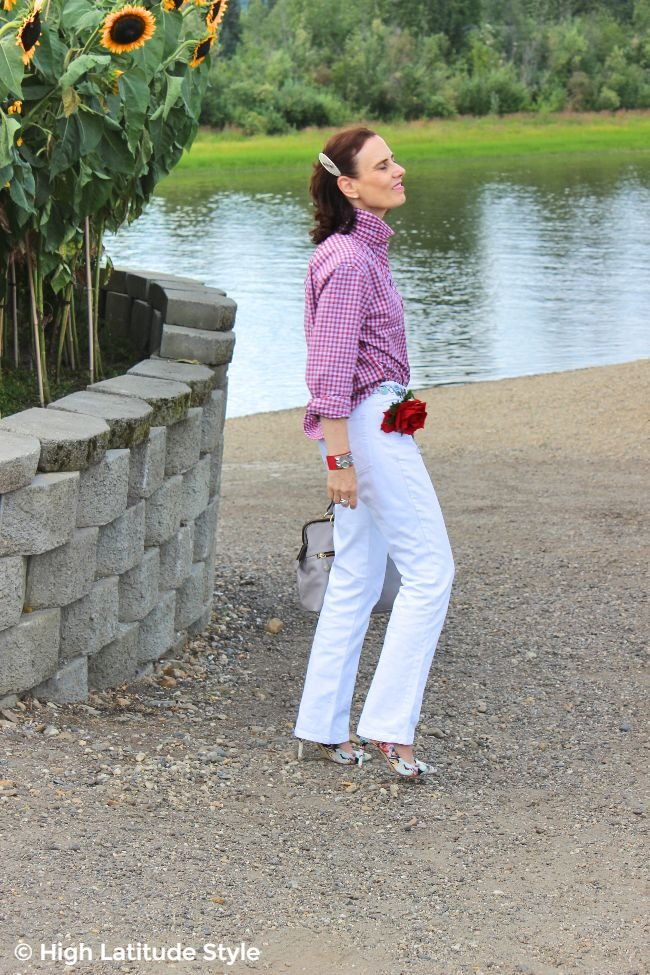 #fashionover50 mature lady in red white and blue gingham blouse and white jeans #WhistleRiverReview