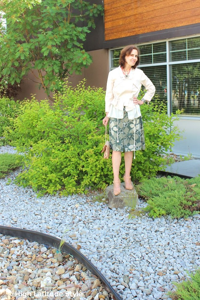#fashionover50 woman in shirt skirt and utility jacket