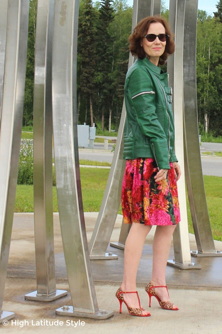 #midlifestyle #LeatherSkin older woman in sheep skin jacket, full skirt, high heel sandals