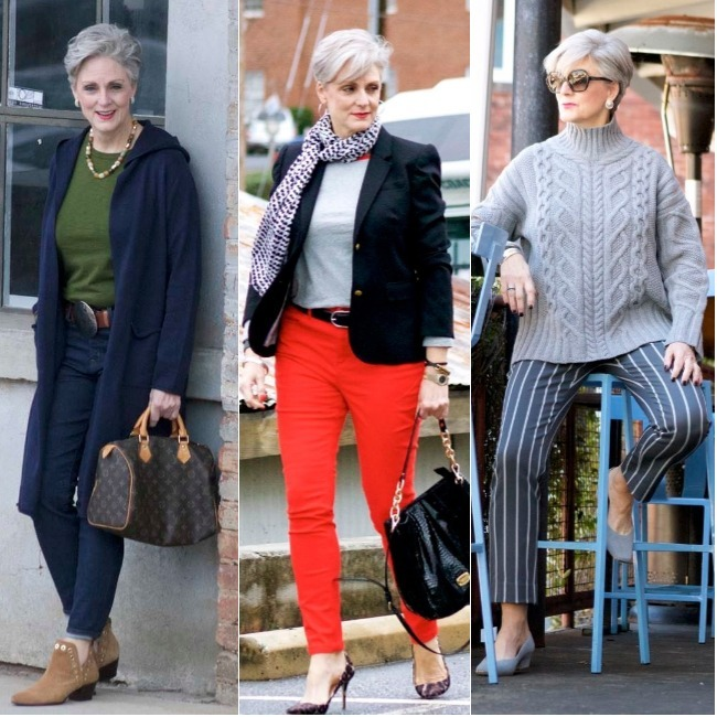 #styleover50 Beth Djalali, Style at a Certain Age, in three different outfits for subtroipical winter weather