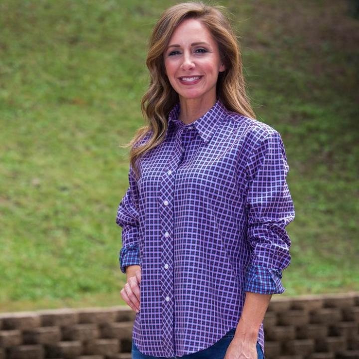 #advancedstyle mature woman in Tennessee diagonal placket blouse