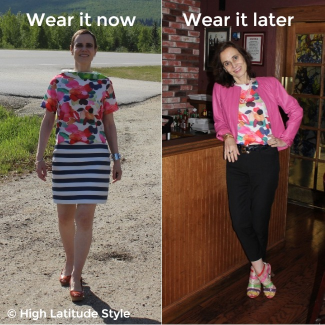 #styledover50 woman donning the same abstract print top in a summer (left) and autumn outfit
