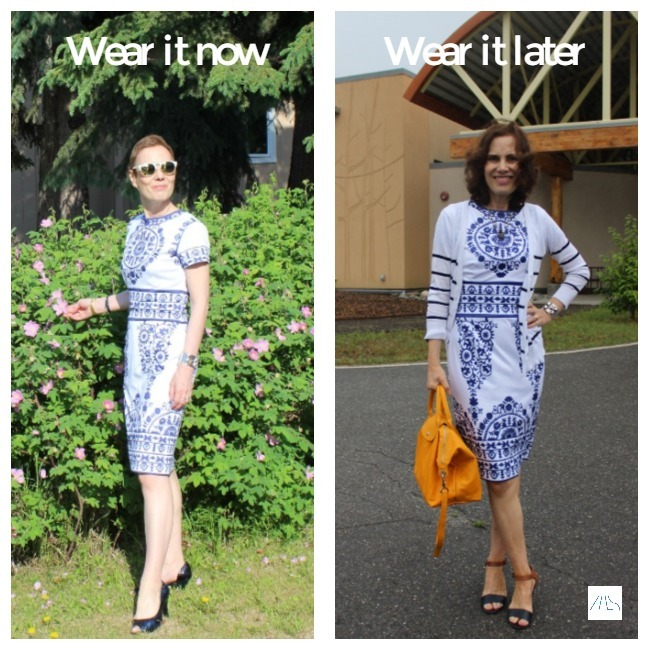 #styleover50 woman wearing the same dress for different temperatures
