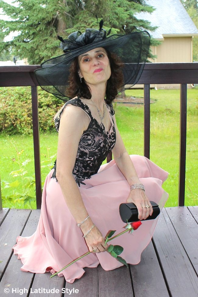 #styleover50 midlife woman in blush and black outfit