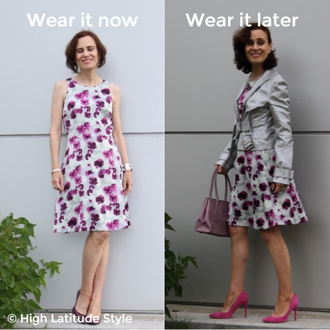 #midlifestyle woman presenting the same dress styled for two seasons