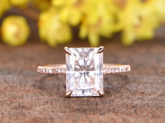 BBBGEM 2.7 carat radiant cut moissanite engagement ring diamond 14 K rose gold