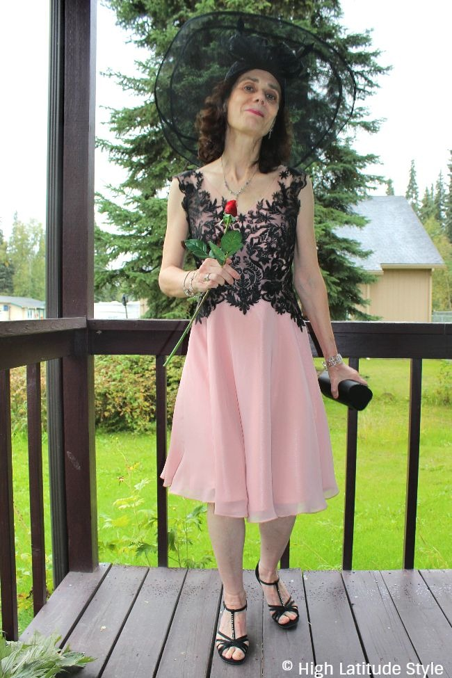 #advancedfashion mature woman in mother-of-the-bride dress with hat