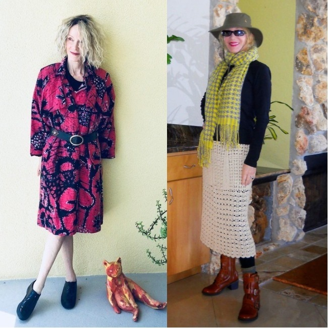 #fashionover60 Patty Gibbson in a light dress and warm layers