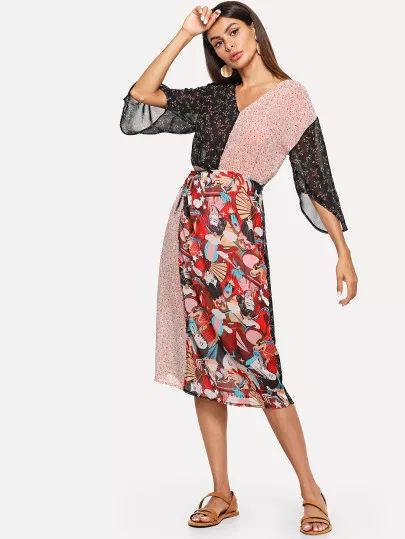 Shein figure print patchwork dress