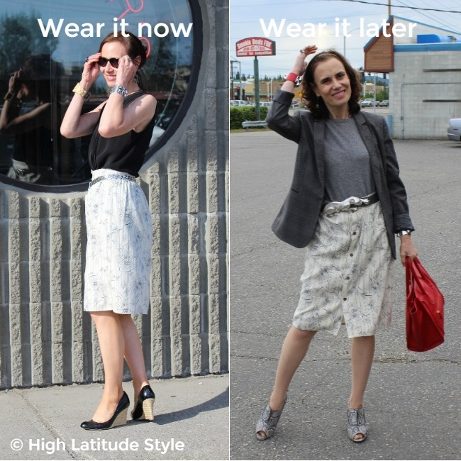 #fashionover50 woman donning the same shirt-skirt outfit styled for a warm and cool day for the office