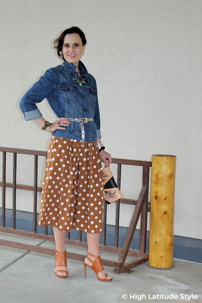 #maturestyle older woman in autumn attire with polka dots and denim for work