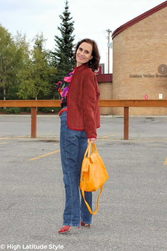 #advancedstyle mature woman in fall outfit with classic herring bone pattern